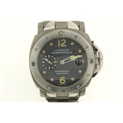 WATCH: [1] Men's titanium Panerai Luminor Submersible wristwatch; 43.5mm case; black dial w/ lumin d