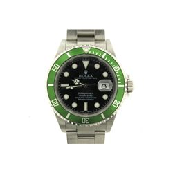 WATCH: [1] Men's St. Steel Rolex O.P. Submariner Date Anniversary wristwatch; 42mm case; black dial
