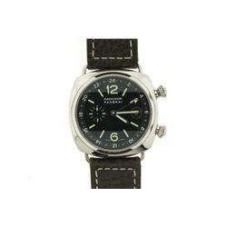 WATCH: [1] Men's St. Steel Panerai Radiomir GMT wristwatch; 41.8mm case; black dial, date at 3, lumi