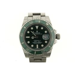 WATCH: [1] Men's St. Steel Rolex O.P. Submariner Date Anniversary wristwatch; 40mm case; green dial