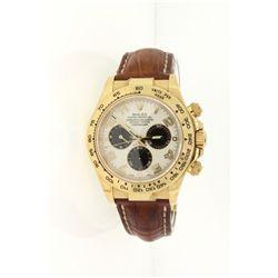 WATCH: [1] Men's 18ky Rolex O.P. Daytona Cosmograph wristwatch; 40mm case; white/silver dial w/ 3 bl