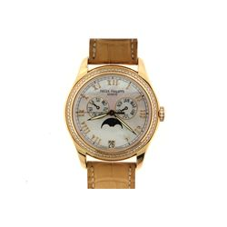 WATCH: [1] Ladies 18kt rose gold Patek Philippe Annual Calendar complicated diamond wristwatch; 36.6