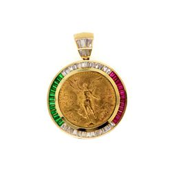 PENDANT: [1] 50 Peso Mexican gold coin pendant in 14kyg and synthetic gemstone holder. Centenario co