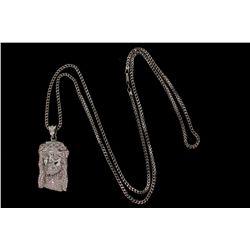 PENDANT: [1] Unisex 10kw head of Jesus motif pave diamond pendant; 218 rb diamonds, 1.0mm to 1.5mm =
