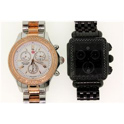 WATCH: [1] Ladies St. Steel & rgp Michele Jetway diamond chronograph wristwatch; 40mm round case; rg