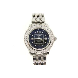 WATCH: [1] Ladies St. Steel Breitling Windrider Cockpit wristwatch w/ aftermarket diamond bezel; 34m