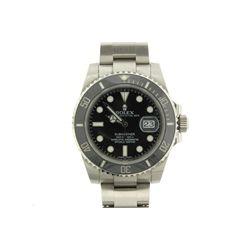 WATCH: [1] Men's St. Steel Rolex O.P. Submariner Date wristwatch; 40mm case; black dial w/ lumin mar