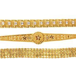 BRACELETS & TIKKA:  [2] 22KYG fancy link bracelets; and [1] 22KYG tikka; 80.8 grams