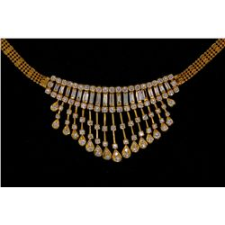 NECKLACE:  [1] 18KYG necklace set with round and baguette diamonds, TWA 3.50 cts, F/G, VS; 19 1/2''s