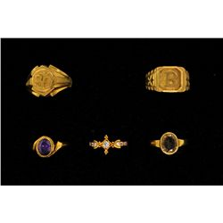 RINGS:  [5] 22KYG rings set with synthetic clear stones, 1 amethyst and 1 citrine; 25.5 grams