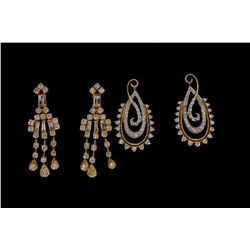 EARRINGS:  [1 pair] 22KYG earrings set with round and baguette cut diamonds, TWA 1.80 cts, G, VS, 9.