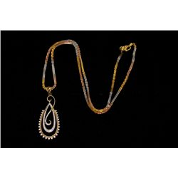 NECKLACE:  [1] 22KYG chain with rhodium plated accents, 18''s, 8.3 grams; and [1] 18KYG pendant set