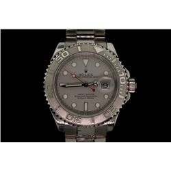 WATCH:  [1]  Stainless steel & Platinum Gents. Rolex Oyster Perpetual Yacht-Master watch with a grey