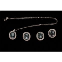 SUITE:  [1] 14KWG suite with matching necklace, ring and earrings set with round diamonds, approx. 4