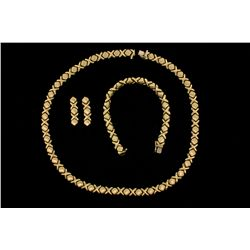 NECKLACE, BRACELET & EARRINGS:  [3 pc set] 14KYG matching necklace (18''s), bracelet (7''s) and earr