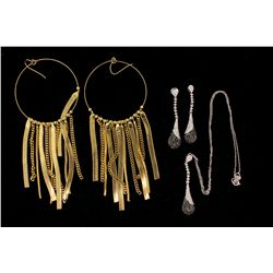 EARRINGS:  [1pair] Gold tone base metal earrings NECKLACE & EARRINGS:  [1 set] 14KWG chain (18''s) a