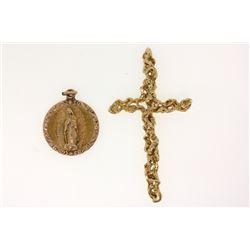 PENDANT:  [1] 14KYG nugget motif cross pendant; 13.1 grams PENDANT:  [1] 14KYG pendant with 10KRG tr