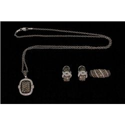 SUITE: [1] 14KWG suite with a necklace, ring and earrings set with round diamonds, approx. 4.14 cttw