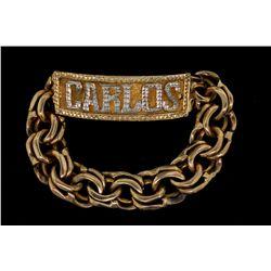 BRACELET:  [1] 10KY & WG double curb link chain 'Carlos'  ID bracelet; 7 1/2''s; 89.6 grams