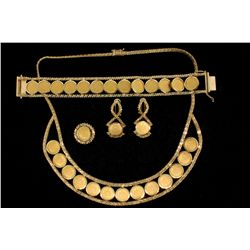 SUITE:  [1] 14KYG necklace (18''s), bracelet (7''s), ring (size 7) and earrings set with a total of