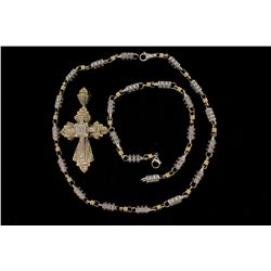 NECKLACE & BRACELET:  [1] 14KY & WG barrel link chain set with round diamonds, approx. 5.40 cttw, fa