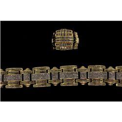 BRACELET & RING:  [1] 14KYG bracelet set with princess and baguette cut diamonds, approx. 18.0 cttw.