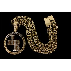 NECKLACE:  [1] 10KYG custom link chain, 24 1/2''s;  and [1] 10KYG with rhodium plated accents round
