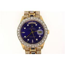 WATCH: [1] Men's 18ky Rolex Oyster Perpetual Day Date; (8) rb diamonds; 1.2mm =est. 0.06cttw; Good/H
