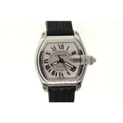 WATCH:  [1]  Stainless steel Gents. Cartier Roadster automatic watch with a silver dial, date and bl