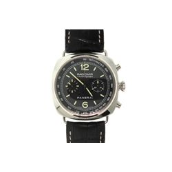WATCH:  [1]  Stainless steel Gents. Panerai Radiomir Chronograph watch with black dial, tachymeter a