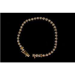 BRACELET: [1] Men's 10kw illusion set diamond line link bracelet; 38 rb diamonds, 3.06mm to 3.25mm =
