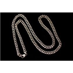 CHAIN:  [1] 14KWG Cuban design chain, 8.0mms wide, 32''s long; 126.4 grams