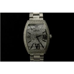 WATCH:  [1] Stainless steel gents Le Vian Royalton Watch with a single cut diamond pave dial and bez