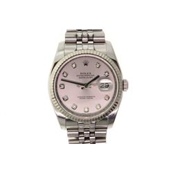 WATCH: [1] Gents St. Steel Oyster Perpetual Date Just Rolex; 18kw fluted bezel; silver dial, date @