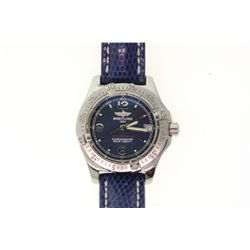 WATCH: [1] Ladies St. Steel Breitling Colt Oceane wristwatch; 33.4mm case; dark blue concentric dial