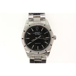 WATCH: [1] Men's St. Steel Rolex O.P. Air-King wristwatch; black dial w/ stick markers; engine turne