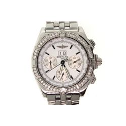 WATCH: [1] Men's St. Steel Breitling Crosswind Special chronograph wristwatch w/ aftermarket diamond