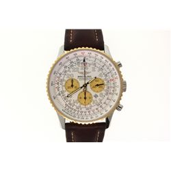 WATCH: [1] Men's St. Steel & 18ky Breitling Cosmonaut Navitimer wristwatch; 39.6mm case; white dial