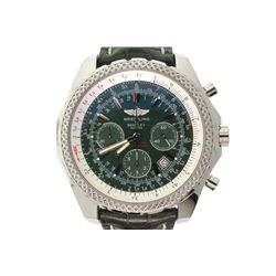 WATCH: [1] Men's St. Steel Breitling Bentley Motors chronograph wristwatch; 48.8mm case; green dial