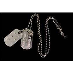 PENDANT: [1] Men's plat Dog-Tag motif diamond pendant; 6 rb diamonds, 4.7mm = est. 2.37cttw, Good-V.