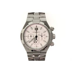 WATCH:  [1]  Stainless steel Gents. Vacheron Constantin Overseas Chronograph automatic watch with a