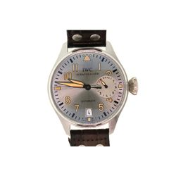 WATCH:  [1] Platinum gents IWC BIG PILOT Automatic watch with a platinum dial, brown leather strap a