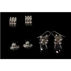 EARRINGS:  [1 pair] Sterling silver earrings with fresh water pearls and faceted crystal beads; 4.8