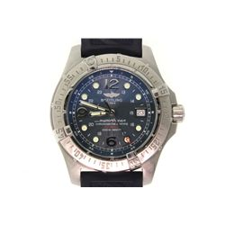 WATCH: [1] Men's St. Steel Breitling Superocean watch; blue face, date @ 3:00; black rubber strap; S