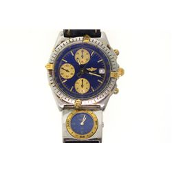 WATCH: [1] Men's St. Steel & 18ky Breitling 100M watch; blue face, 3 sub dials, date @ 3:00; blue le