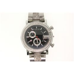 WATCH: [1] Men's St. Steel Gucci Chronoscope 101M watch; black face, 2 sub dials, date @ 8:00; one h