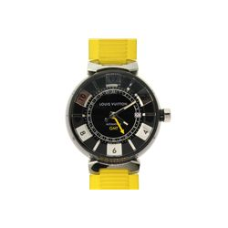 WATCH: [1] Men's St. Steel Louis Vuitton Tambour 100M watch; black face, date @ 3:00; yellow rubber