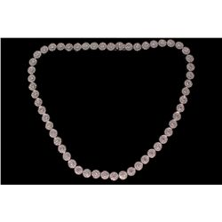 NECKLACE: [1] 18kwg and diamond necklace 15'' long with 7mm round links set with (55) 3mm rbc diamon