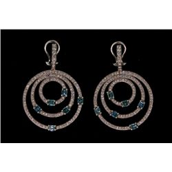EARRINGS: [1 PAIR] 18kwg blue and white diamond earrings 1 3/4 long concentric circles set with (260