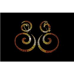 EARRINGS: [1 PAIR] 18kyg diamond and multi-color sapphire Zingara earrings, set with (24) rbc diamon